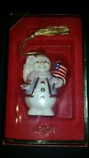 Lenox 2003 Patriotic Snowman Christmas Ornament Unused in Orig Box