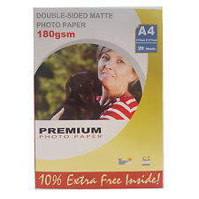 PREMIUM MATTE A4 DOUBLE SIDED INKJET PHOTO PAPER 180GSM - 20 SHEETS