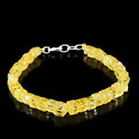 """72.50 Cts Earth Mined 8"""" Inches Long Yellow Citrine Untreated Beads Bracelet"""