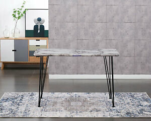 AINPECCA Dining Table 120x70cm Faux M Grey Metal Hairpin Legs For Home Office