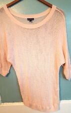 Express Size S Pink Knit See Through Batwing Sleeve Top