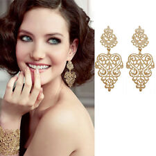 1 Pair Hollow Out Golden Color Retro Long Drop Dangle Earrings Bohemian Style CN