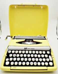 Vintage 1963 Smith-Corona Corsair Portable Typewriter made in England YELLOW