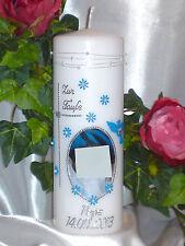 Taufkerze Kommunionkerze Junge Mädchen mit Foto 200/70mm Blau/Silber T023