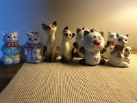 4 sets of Ceramic Cats Salt & Pepper Shakers
