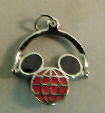 Disney Sterling Silver Charm-Mickey Mouse Head Spinner-Red          sku D712