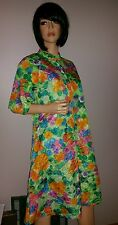 VINTAGE JANET LYNN BRIGHT WATERCOLOR FLORAL ZIP SUMMER ROBE DAY COAT COVER UP S