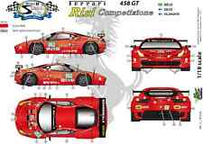 "[FFSMC Productions] Decals 1/18 Ferrari F-458GT ""Risi"" 12 Hours of Sebring 2011"