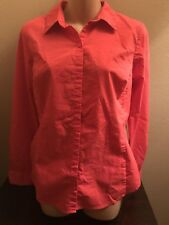 Ladies Worthington Long Sleeve Button Front Coral Shirt Size 6