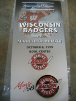 Wisconsin BADGER Women's HOCKEY PIN Inaugural Game vs UMD 1999 NEW in Package