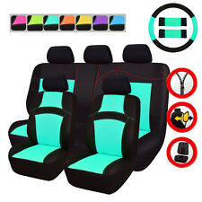 8Universal Car Seat Covers Mint Blue Steering Wheel Cover Fit For Toyota Holden