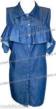 Ladies Women's Denim Cold & Off Shoulder Bardot Dress Lace Top Shirt  Frill 8-16
