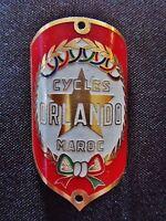 ancienne plaque de vélo en aluminium-cyclisme-sport-Orlando-Maroc