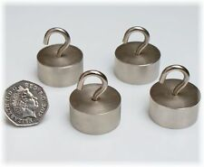 4 x Chrome Silver Neo MAGNETIC HOOKS ~ 30mm x 15mm ~ HEAVY DUTY! ~ Pull 28kg
