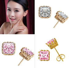 Fashion Engagement Jewelry18k Yellow Gold Filled Pink&White Zircon Stud Earring