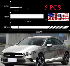 5 Pcs Car Side Door Body Hood Rearview Mirror Stripes Sticker White Style Decals