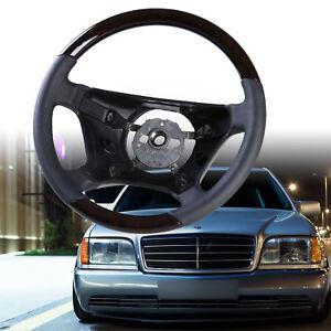 Steering Wheel Walnut Wood Black Leather Standard For Mercedes S-Class W140
