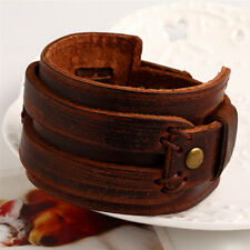 Wide Leather Wrap Cuff Bracelet Vintage Braclet Brede Lederen Wrap Manchet DSUK