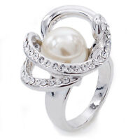 VF Bridal Fashion Round Pearl Clear Austrian Crystal  Alloy Ring Size 7,8,9