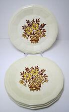 "4 Homer Laughlin China Desertstone Dinner Plates 10"" Brown Yellow Flowers"
