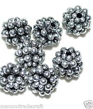 100pcs Metallic Berry Acrylic Beads 10mm in Various Colours Silver