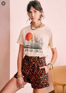 NWT Sezane Fabrizio Shorts in brown 'Leopard Cafe' print. Size 34. New