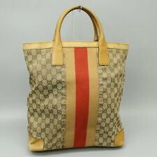 GUCCI GG Pattern PVC Canvas Leather Tote Bag Purse Brown 002 1093 3444