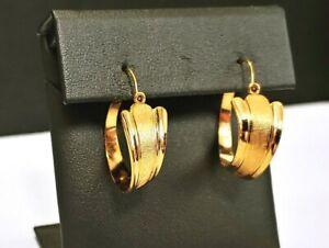 😍 FABULOUS VINTAGE SIGNED VAN DELL VD GF 14k GOLD FILLED HOOP EARRINGS