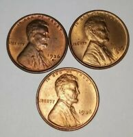 1936 Lincoln Wheat Cents P-D-S- GEM Uncirculated Red Coins! FREE Shipping!