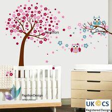 Cereza Rosa Flor Árbol Búhos Guardería Niño Bebé Niña Niño Pared Calcomanía Adhesivo Mural