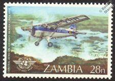 CAA de havilland Canada DHC-2 BEAVER Aircraft Mint Stamp (1984 Zambia)