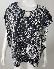 Jaclyn Smith Womens XXL Black White Abstract Keyhole Neckline Career Blouse NWT