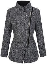 Designer women's winter coat jacket mottled wool parka beige grey blue D-253
