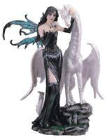 Black Fairy with White Dragon Medieval Fantasy Figurine Pixie Decoration New