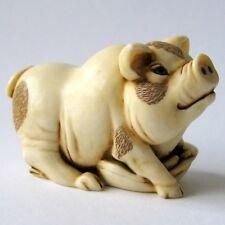 MPS Harmony Kingdom: QTs: Small Pig / Piglet Figurine: Inspired by Netsuke - NIB