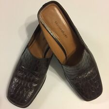 Naturalizer Womens 9N leather Croc Embossed Brown Shoes Mules Clogs Heels Slides