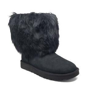 UGG Short Sheepskin Cuff Boots in Black Womens Size 7