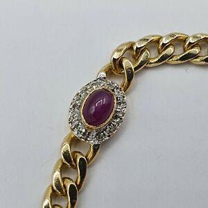 A199# Rubin Cabochon Diamant Armband G Gold 585 / 14k punziert 0,4ct