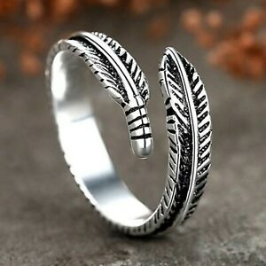 925 Sterling Silver Leaf/Feather Angel Memory Ring Adjustable Finger Thumb Band