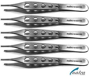 5x Adson Brown Braun tissue forceps 12 cm serrated anatomic Tweezer forcep