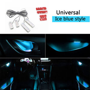 4X Ice Blue Auto Car Door Bowl Handle LED Ambient Atmosphere Light Interior