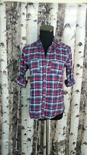 Hollister Womens Plaid Flannel Button Down Shirt Size Small Blouse Colorful