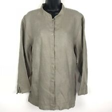 Eileen Fisher Woman 1X linen blouse tan taupe button front 3/4 sleeve plus