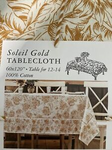 April Cornell SUNFLOWERS Soleil Gold Tablecloth  60 X 120~~ Table For 12-14 NWT