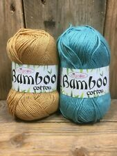 Knitting Yarn Wool Bamboo Cotton King Cole 2 X 100g Balls Truffle Sea Breeze