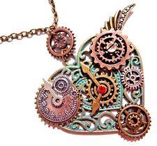 STEAMPUNK FILIGREE HEART PENDANT clockwork gears necklace bronze patina green 6Y