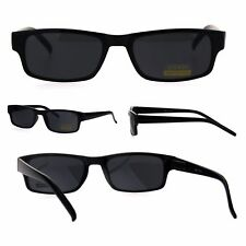 All Black Narrow Rectangular Thin Plastic Mens Minimal Mod Sunglasses