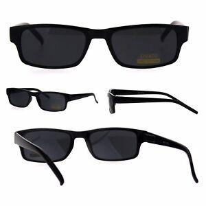 All Black Narrow Rectangular Thin Plastic Mens Minimal Mod Sunglasses