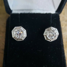 Estate Women's 14k Gold White Gold Screw Back Style Diamond Earrings 0.80PTS TCW