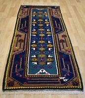 Antique *Never Used* Caucasian Kazak Handmade Dowry Runner 3Ftx8Ft Free Shipping